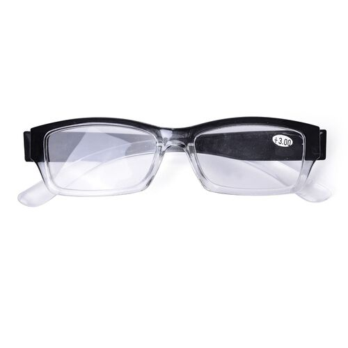 Set of 3 - Black Unisex Ready Reader Glasses with a diopter strength of +2.5,+3.0 and +3.5.
