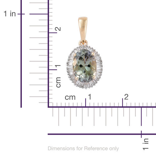 9K Y Gold Natural AAA Green Tanzanite (Ovl 1.51 Ct), Diamond (I3/G-H) Pendant 1.750 Ct.