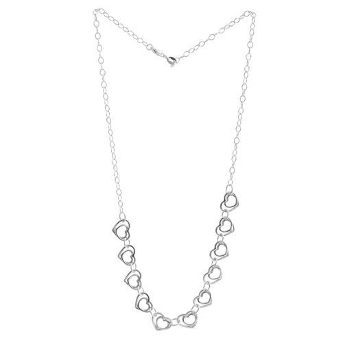Vicenza Collection Rhodium Plated Sterling Silver Heart Link Necklace (Size 18), Silver wt 8.80 Gms.