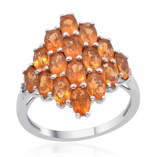 Jalisco Fire Opal (Ovl), Diamond Cluster Ring in Platinum Overlay Sterling Silver 2.260 Ct.