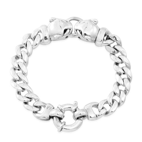 JCK Vegas Collection  Sterling Silver Leopard Heads Curb Bracelet (Size 7.5), Silver wt. 18.59 Gms.