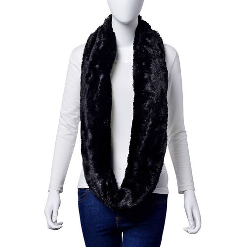 Designer Inspired Double Layered Infinity Black Scarf (Size 20X80 Cm)