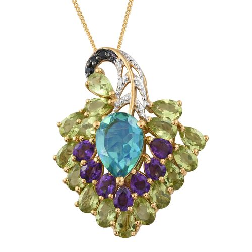 GP Peacock Quartz (Pear), Hebei Peridot, Amethyst, Kanchanaburi Blue Sapphire and Boi Ploi Black Spinel Peacock Feather Inspired Pendant With Chain in 14K Gold Overlay Sterling Silver 7.000 Ct.