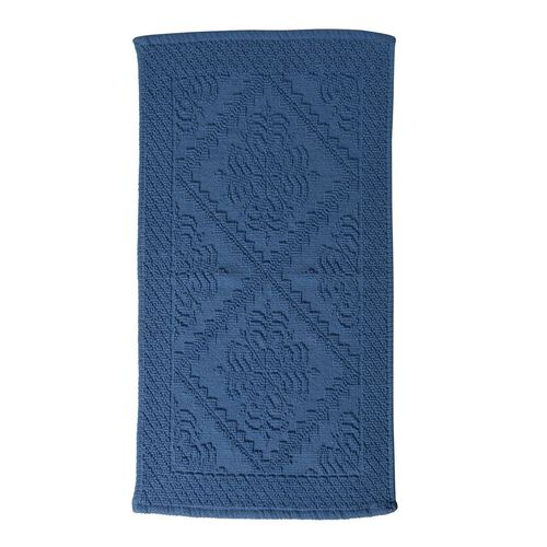 Bath Collection - 100% Cotton Blue Colour Geometrical Design Sculpted Bath Mat (Size 80X50 Cm)