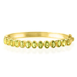 Hong Kong Close Out Deal Hebei Peridot (Ovl) Bangle (Size 7.5) in Yellow Gold Vermeil Sterling Silver 6.000 Ct. Silver wt 17.50 Gms.