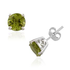 AA Hebei Peridot (Rnd) Stud Earrings (with Push Back) in Platinum Overlay Sterling Silver 4.000 Ct.
