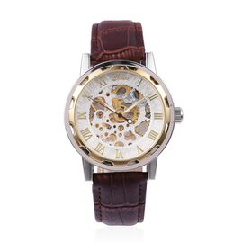 GENOA Semi - Automatic Machanical Movement White Dial Water Resistant Watch in Silver Tone with Reddish Brown Strap