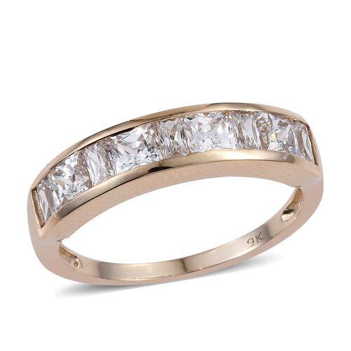 9K Yellow Gold 3.50 Ct  Half Eternity Ring Made with Swarovski Zirconia