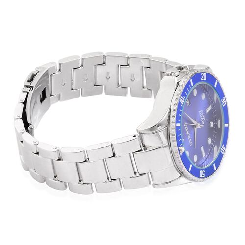 STRADA Japanese Movement Blue Sunshine Dial Water Resistant Watch in Silver Tone with Stainless Steel Back