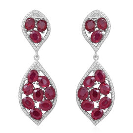 African Ruby (Ovl) Earrings (with Push Back) in Rhodium Plated Sterling Silver 11.000 Ct. Silver wt 5.50 Gms.