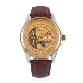 GENOA Automatic Skeleton Golden Dial Water Resistant Watch in Silver Tone with Brown Colour Leather Strap