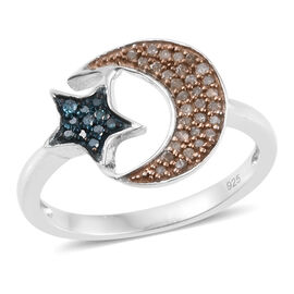 Natural Champagne Diamond (Rnd), Blue Diamond Moon and Star Ring in Platinum Overlay Sterling Silver 0.250 Ct.