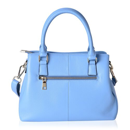 Limited Edition-Designer Inspired- Genuine Leather Butterfly Charm Blue Colour Handbag with External Zipper Pocket and Adjustable and Removable Shoulder Strap (Size 30X23.5X11 Cm)