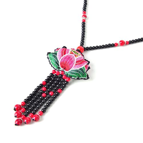Red and Black Colour Beads Multi Colour Lotus Flower Necklace (Size 28)