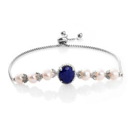 Designer Inspired-Lapis Lazuli and Fresh Water Pearl Adjustable Bracelet (Size 6.5 to 9) Platinum Plated