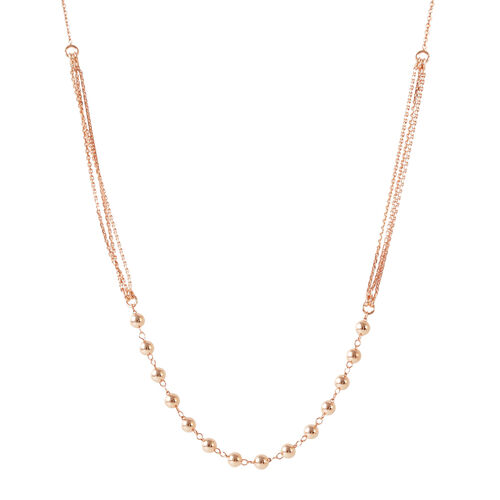 Rose Gold Overlay Sterling Silver Multi Strand Bead Adjustable Necklace (Size 20), Silver wt 4.00 Gms.