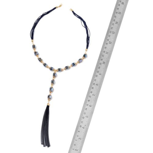 Simulated Blue Sapphire and White Austrian Crystal Necklace (Size 22) in Gold Tone