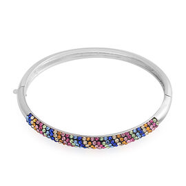 Vegas Close Out - AAA Blue, Pink, Yellow and Multi Colour Austrian Crystal Bangle (Size 7) in Silver Plated