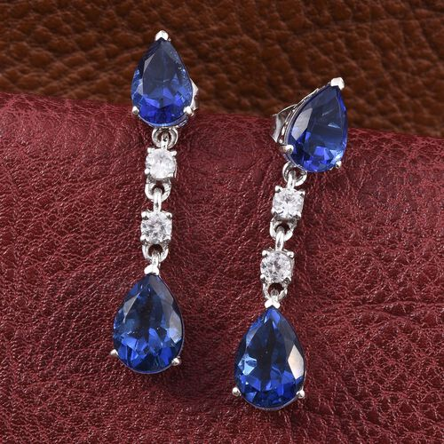 Ceylon Colour Quartz (Pear), Natural Cambodian Zircon Earrings (with Push Back) in Platinum Overlay Sterling Silver 8.500 Ct.