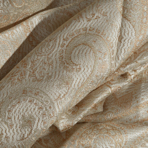 SILKMARK - 100% Superfine Silk Light Brown and Off White Colour Floral and Paisley Pattern Reversible Scarf with Tassels (Size 180X70 Cm) (Weight 125 to 140 Gm)