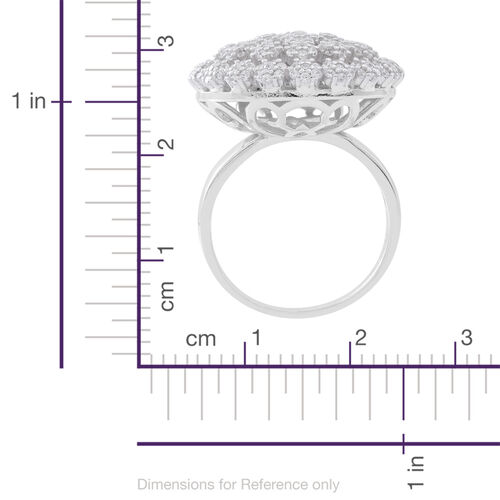 ELANZA AAA Simulated White Diamond (Rnd) Floral Ring in Rhodium Plated Sterling Silver