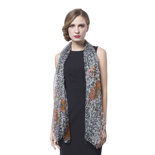 40% Mulberry Silk Black, Orange and Multi Colour Leopard Pattern Scarf (Size 170X105 Cm)