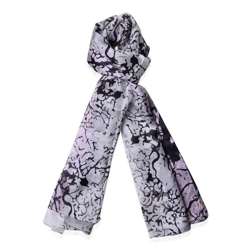 100% Mulberry Silk White, Pink and Black Colour Grove Pattern Scarf (Size 170x110 Cm)