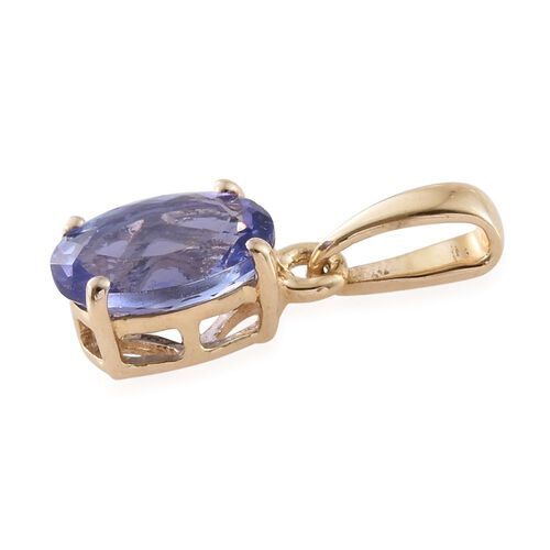 9K Yellow Gold AA Tanzanite (Ovl) Solitaire Pendant 1.250 Ct.