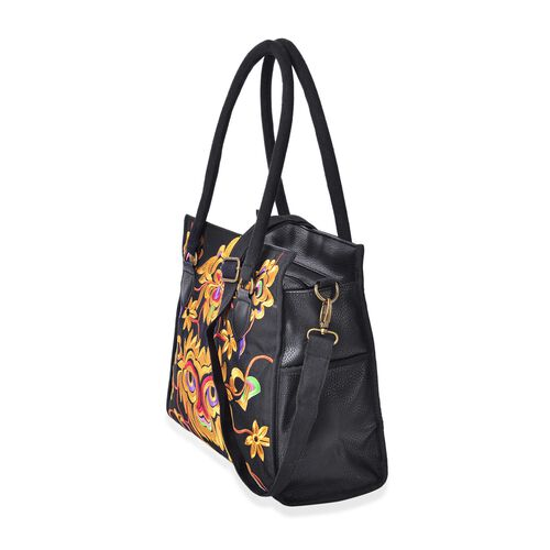 Shanghai Collection - Yellow, Black and Multi Colour Dragon Pattern Tote Bag with Adjustable and Removable Shoulder Strap (Size 31.5x24x11.5 Cm)