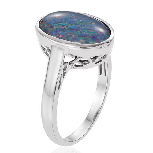 Australian Boulder Opal (Ovl) Solitaire Ring in Platinum Overlay Sterling Silver 3.750 Ct.