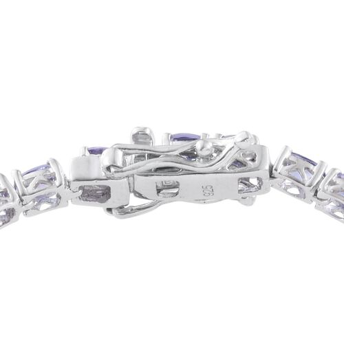 Tanzanite (Ovl) Bracelet (Size 6.5) in Platinum Overlay Sterling Silver 5.500 Ct.