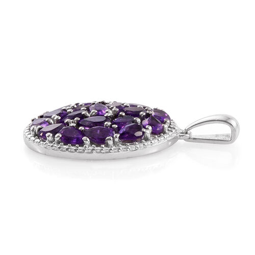 Amethyst (Pear) Cluster Pendant in Platinum Overlay Sterling Silver 4.250 Ct.