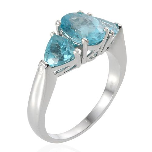 Paraiba Apatite (Ovl 1.75 Ct) Ring in Platinum Overlay Sterling Silver 3.250 Ct.