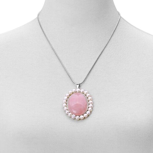 Rose Quartz and Fresh Water White Pearl Pendant With Chain (Size 19 with 2 inch Extender) in Silver Tone 116.000 Ct.