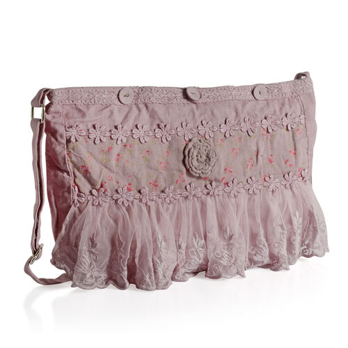 100% Cotton Floral Embroidered Hot Pink Colour Shoulder Bag with Lace (Size 35x30 Cm)