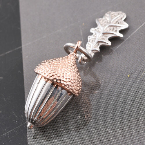Acorn and Oak Leaf Pendant in Platinum and Rose Gold Overlay Sterling Silver