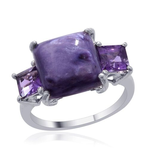 Russian Charoite (Oct 5.00 Ct), Amethyst Ring in Platinum Overlay Sterling Silver 7.000 Ct.