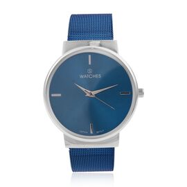 STRADA Japanese Movement Blue Sunshine Dial Water Resistant Watch in Silver Tone with Chain Strap