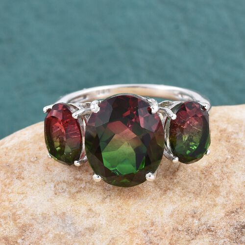 Bi-Color Tourmaline Quartz (Ovl 5.75 Ct) 3 Stone Ring in Platinum Overlay Sterling Silver 9.250 Ct.