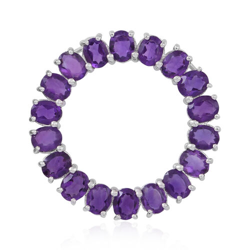 Lusaka Amethyst (Ovl) Circle of Life Pendant in Rhodium Plated Sterling Silver 5.500 Ct.