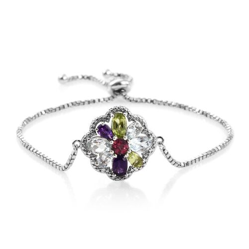 Hebei Peridot (Ovl), Sky Blue Topaz, Amethyst, Espirito Santo Aquamarine, Rhodolite Garnet and Sky Blue Topaz Bracelet (Size 6.5 to 8.5) in Platinum Overlay Sterling Silver 2.810 Ct. Silver wt 6.00 Gm