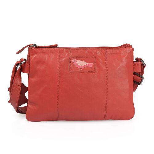 100% Genuine Leather RFID Blocker True Red Bird Sling Bag with Adjustable Shoulder Strap (Size 29X20 Cm)