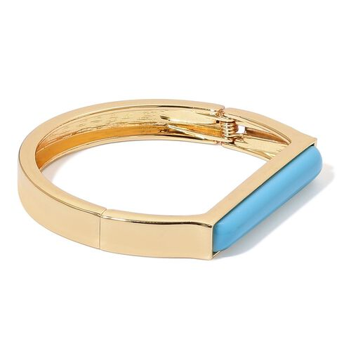 Designer Inspired-Simulated Turquoise Bangle (Size 7 to 7.5) Yellow Gold Plated