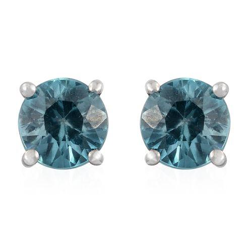 9K White Gold 1 Carat AA Blue Zircon (Rnd) Stud Earrings (with Push Back)