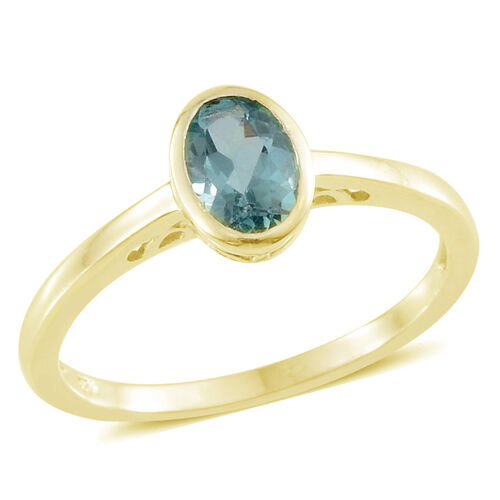 Set of 3 - Paraibe Apatite (Ovl,Rnd,Pear) Solitaire Ring in Yellow Gold Overlay Sterling Silver 1.750 Ct.