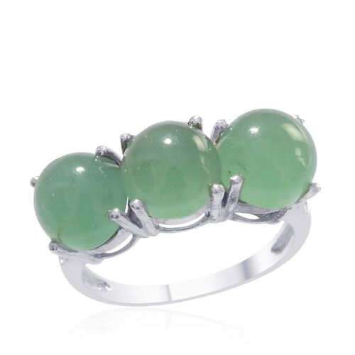 Emerald Quartz (Rnd) Trilogy Ring in Platinum Overlay Sterling Silver 7.000 Ct.