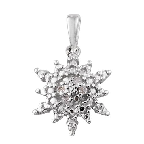 Diamond (Rnd) Snowflake Pendant in Platinum Overlay Sterling Silver