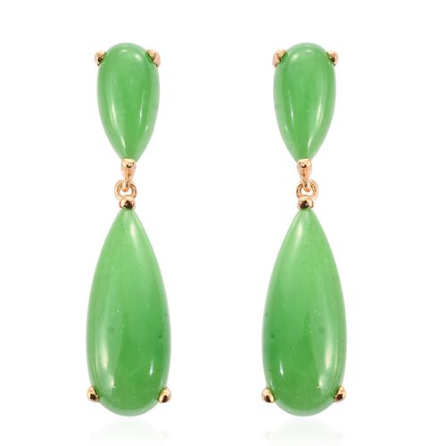 Green Jade (Pear) Drop Earrings (with Push Back) in 14K Gold Overlay Sterling Silver 18.250 Ct.