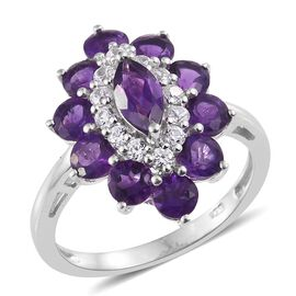 Lusaka Amethyst (Mrq), Natural Cambodian Zircon Ring in Platinum Overlay Sterling Silver 3.500 Ct.