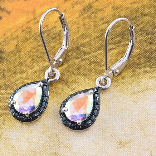Mercury Mystic Topaz (Pear), Blue Diamond Lever Back Earrings in Platinum Overlay Sterling Silver 2.500 Ct.